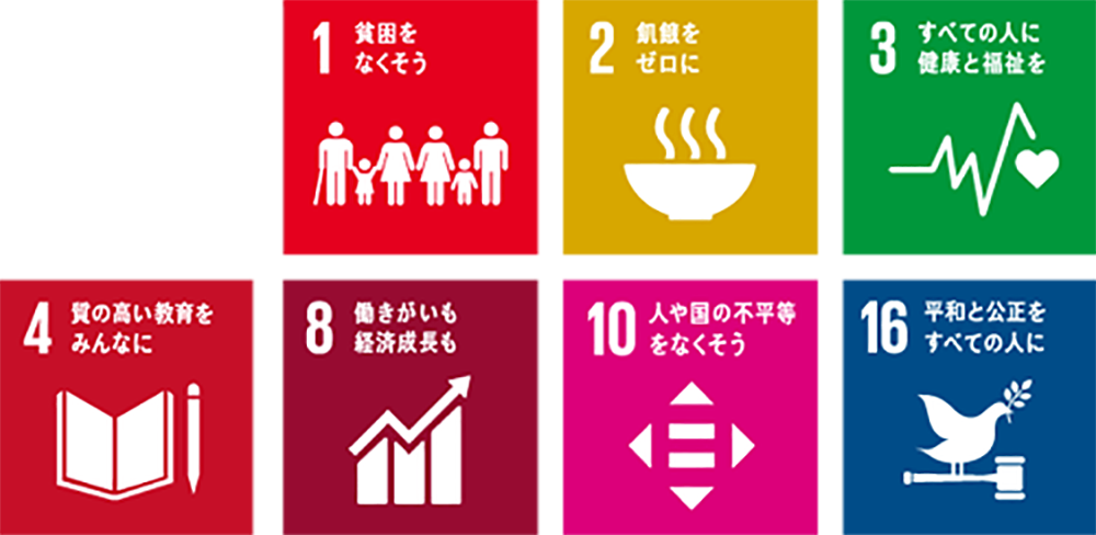 SDGsへの取り組み  Goal 1 あらゆる場所のあらゆる形態の貧困を終わらせる End poverty in all its forms everywhere   Goal 2 飢餓を終わらせ、食料安全保障及び栄養改善を実現し、持続可能な農業を促進する End hunger, achieve food security and improved nutrition and promote sustainable agriculture  Goal 3 あらゆる年齢の全ての人々の健康的な生活を確保し、福祉を促進する Ensure healthy lives and promote well-being for all at all ages  Goal 4 全ての人に包摂的かつ公正な質の高い教育を確保し、生涯学習の機会を促進する Ensure inclusive and equitable quality education and promote lifelong learning opportunities for all  Goal 8 包摂的かつ持続可能な経済成長及び全ての人々の完全かつ生産的な雇用と働きがいのある人間らしい雇用(ディーセント・ワーク)を促進する Promote sustained, inclusive and sustainable economic growth, full and productive employment and decent work for all  Goal 10 各国内及び各国間の不平等を是正する Reduce inequality within and among countries  Goal 16 持続可能な開発のための平和で包摂的な社会を促進し、全ての人々に司法へのアクセスを提供し、あらゆるレベルにおいて効果的で説明責任のある包摂的な制度を構築する Promote peaceful and inclusive societies for sustainable development, provide access to justice for all and build effective, accountable and inclusive institutions at all levels